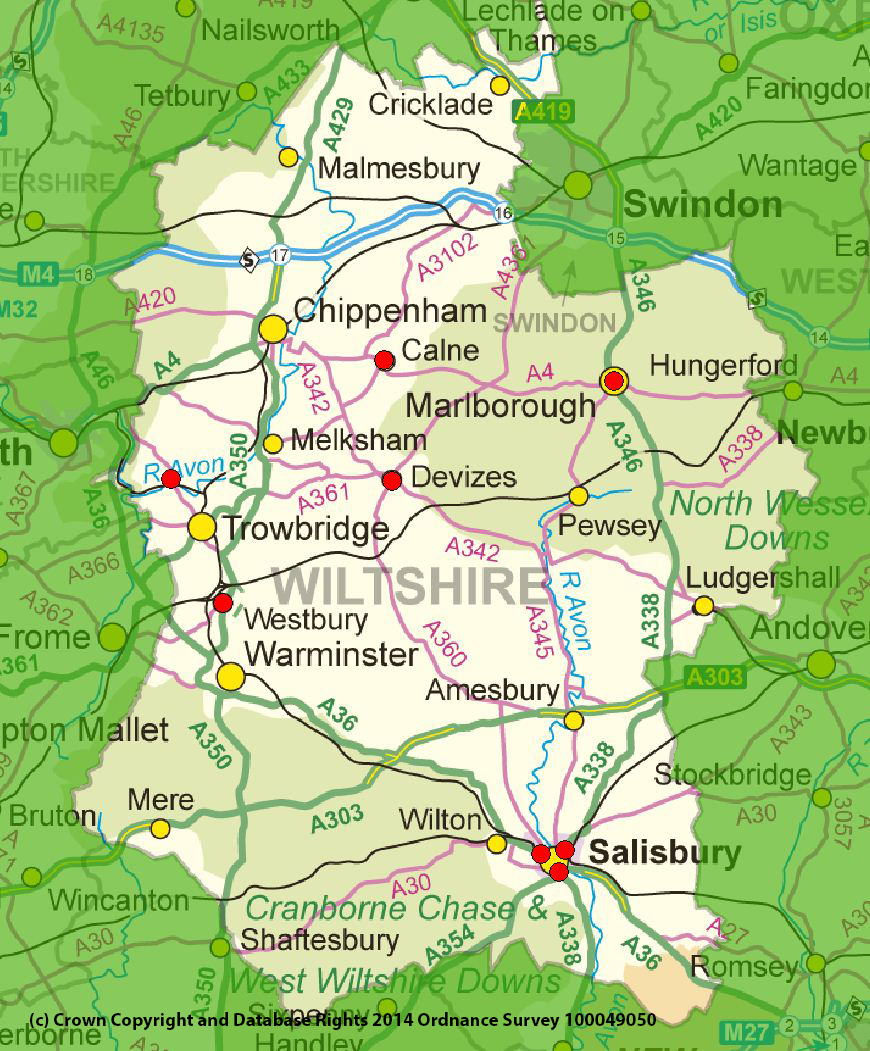 Map Of Wiltshire Uk Air Quality Management Areas (AQMAs)   Wiltshire