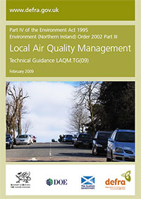 The cover of the Environment Act 1995 Local Air Quality Management policy guidance